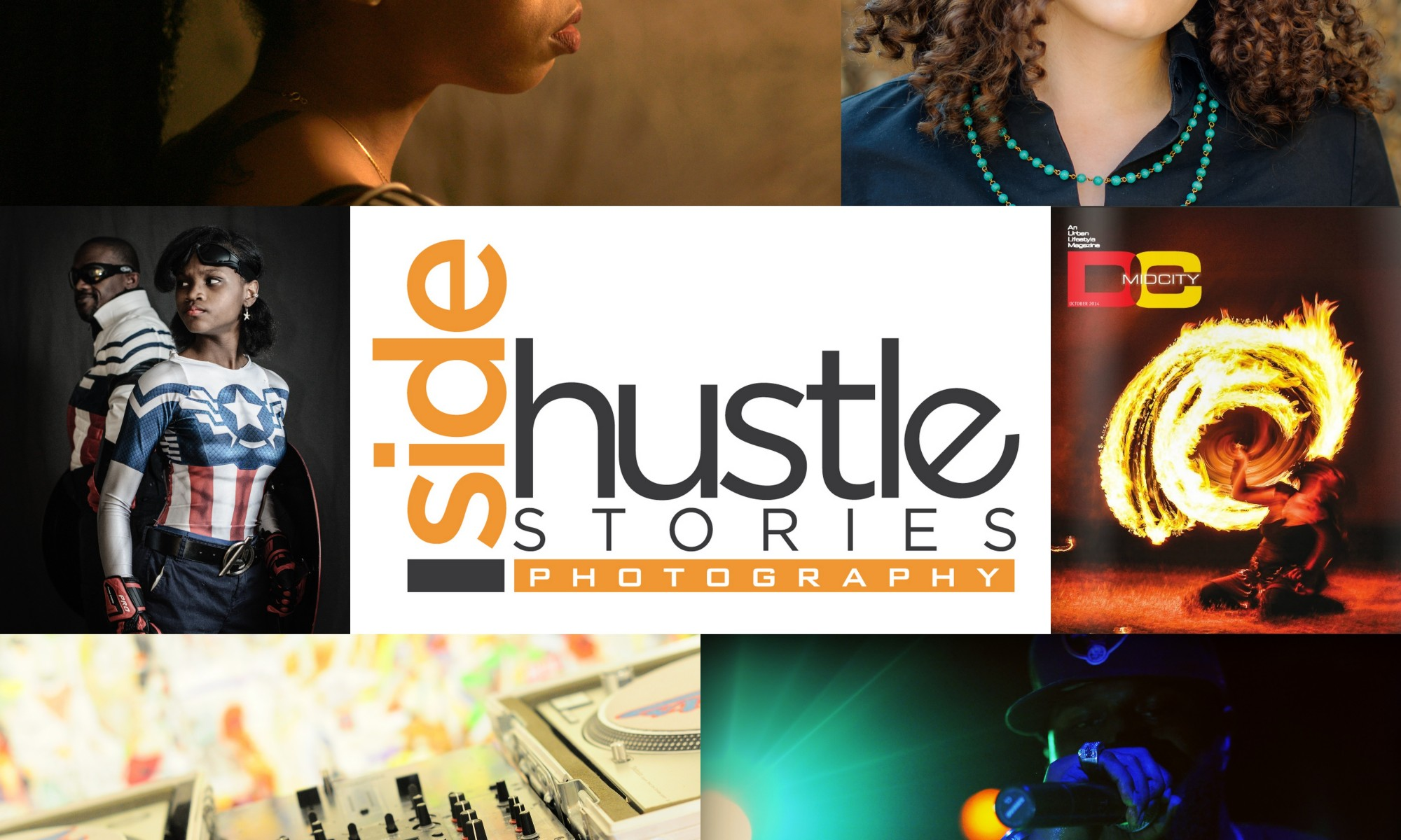 selection of photos with the Side Hustle Stories Photography logo in the center